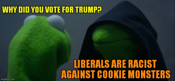 Evil Kermit Meme | WHY DID YOU VOTE FOR TRUMP? LIBERALS ARE RACIST AGAINST COOKIE MONSTERS | image tagged in memes,evil kermit | made w/ Imgflip meme maker