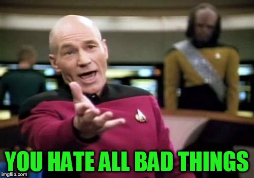 Picard Wtf Meme | YOU HATE ALL BAD THINGS | image tagged in memes,picard wtf | made w/ Imgflip meme maker
