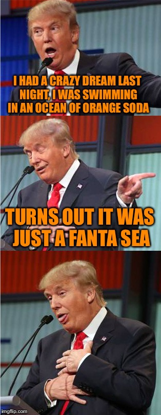 If you think the other puns were bad, you should sea mine! |  I HAD A CRAZY DREAM LAST NIGHT, I WAS SWIMMING IN AN OCEAN OF ORANGE SODA; TURNS OUT IT WAS JUST A FANTA SEA | image tagged in bad pun trump,memes,bad pun,fanta,sea,dreams | made w/ Imgflip meme maker