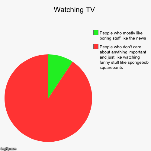 Watching TV | People who don't care about anything important and just like watching funny stuff like spongebob squarepants, People who mostl | image tagged in funny,pie charts | made w/ Imgflip chart maker