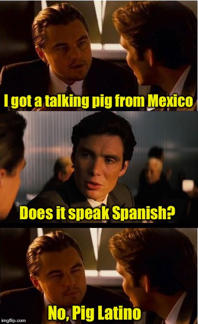 Bad pig pun | I got a talking pig from Mexico No, Pig Latino Does it speak Spanish? | image tagged in memes,inception,latinos,pig latin,bad pun | made w/ Imgflip meme maker