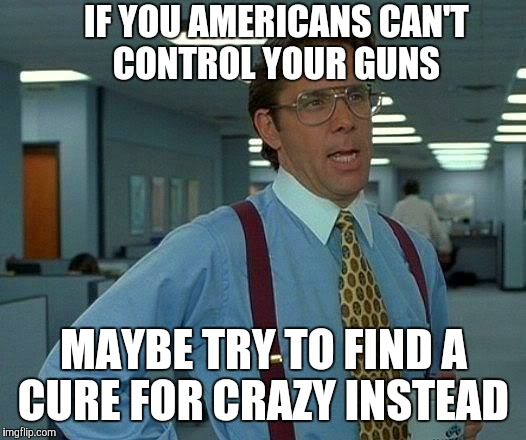 That Would Be Great Meme | IF YOU AMERICANS CAN'T CONTROL YOUR GUNS MAYBE TRY TO FIND A CURE FOR CRAZY INSTEAD | image tagged in memes,that would be great | made w/ Imgflip meme maker