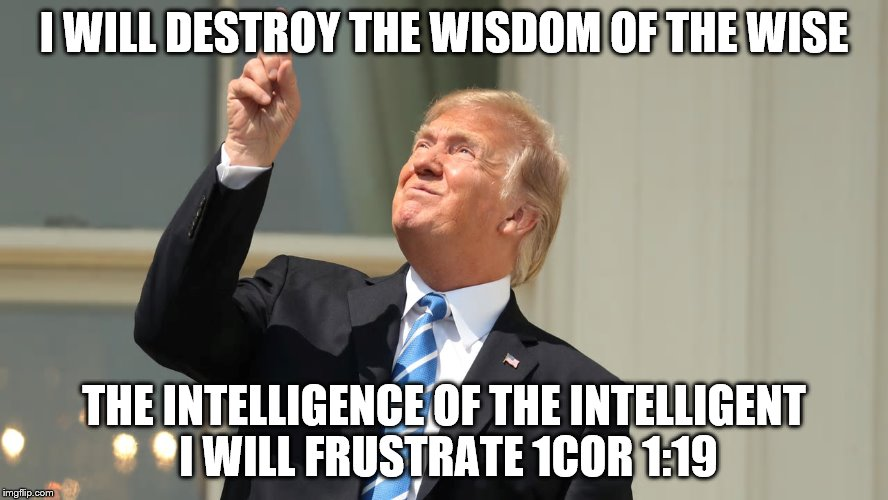 I WILL DESTROY THE WISDOM OF THE WISE THE INTELLIGENCE OF THE INTELLIGENT I WILL FRUSTRATE 1COR 1:19 | image tagged in donald trump | made w/ Imgflip meme maker