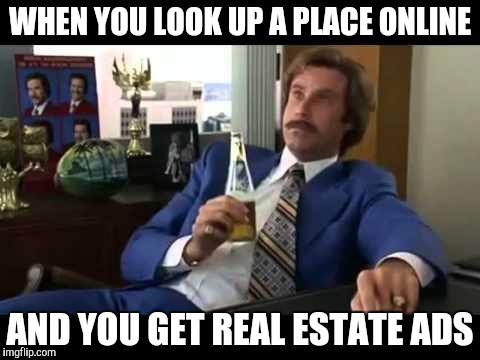 Well That Escalated Quickly Meme | WHEN YOU LOOK UP A PLACE ONLINE AND YOU GET REAL ESTATE ADS | image tagged in memes,well that escalated quickly | made w/ Imgflip meme maker
