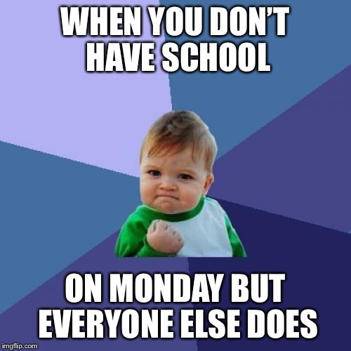 Success Kid Meme | WHEN YOU DON'T HAVE SCHOOL ON MONDAY BUT EVERYONE ELSE DOES | image tagged in memes,success kid | made w/ Imgflip meme maker