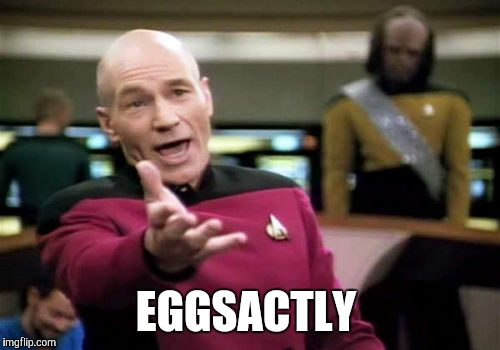 Picard Wtf Meme | EGGSACTLY | image tagged in memes,picard wtf | made w/ Imgflip meme maker