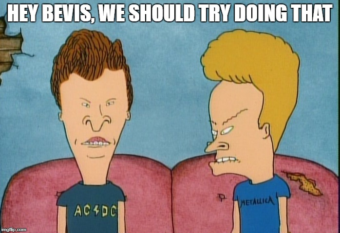 HEY BEVIS, WE SHOULD TRY DOING THAT | made w/ Imgflip meme maker