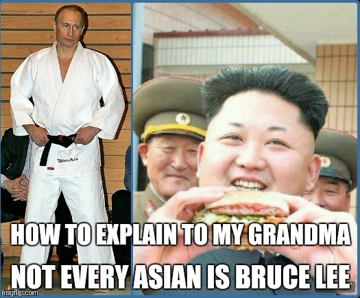 Fat Martial artist | HOW TO EXPLAIN TO MY GRANDMA NOT EVERY ASIAN IS BRUCE LEE | image tagged in martial arts,bruce lee,kim jong un,vladimir putin | made w/ Imgflip meme maker
