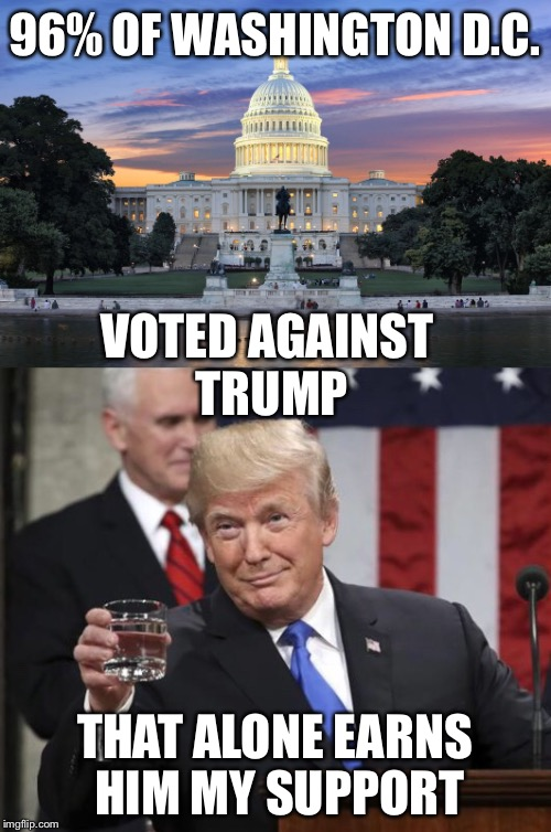 Washington DC swamp | 96% OF WASHINGTON D.C. THAT ALONE EARNS HIM MY SUPPORT VOTED AGAINST TRUMP | image tagged in drain the swamp | made w/ Imgflip meme maker