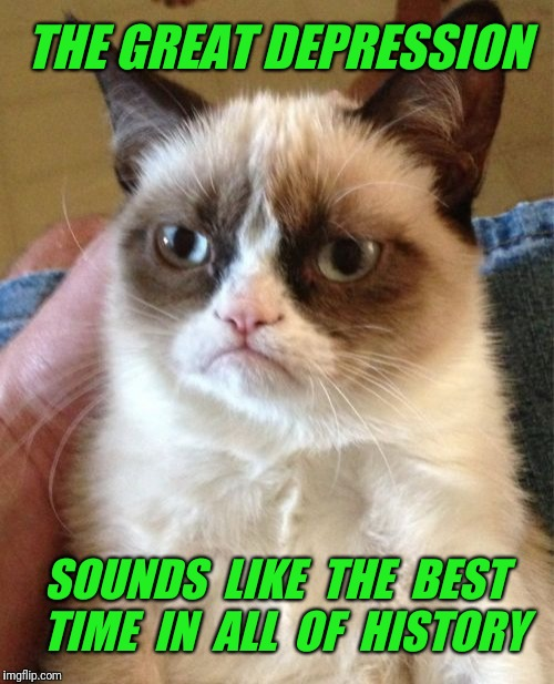 Grumpy Cat Meme | THE GREAT DEPRESSION SOUNDS  LIKE  THE  BEST  TIME  IN  ALL  OF  HISTORY | image tagged in memes,grumpy cat,depression | made w/ Imgflip meme maker