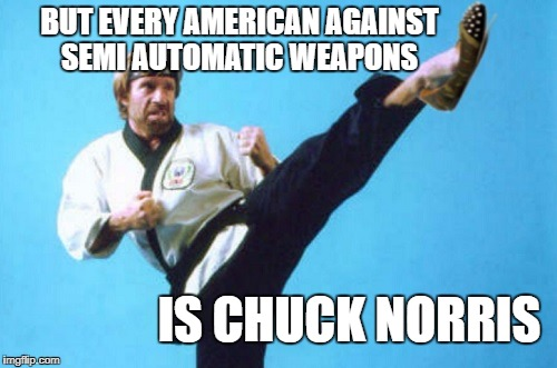 juck kick | BUT EVERY AMERICAN AGAINST SEMI AUTOMATIC WEAPONS IS CHUCK NORRIS | image tagged in juck kick | made w/ Imgflip meme maker