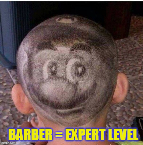 BARBER = EXPERT LEVEL | image tagged in super mario,level expert | made w/ Imgflip meme maker