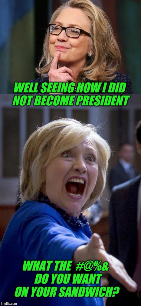 Decisions Decisions | WELL SEEING HOW I DID NOT BECOME PRESIDENT WHAT THE  #@%&  DO YOU WANT ON YOUR SANDWICH? | image tagged in make me a sandwich,sandwich,hillary lost | made w/ Imgflip meme maker