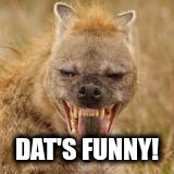 Mohawk hyena | DAT'S FUNNY! | image tagged in mohawk hyena | made w/ Imgflip meme maker