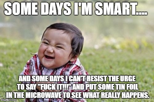 "Evil Toddler Meme | SOME DAYS I'M SMART.... AND SOME DAYS I CAN'T RESIST THE URGE TO SAY ""F**K IT!!!"" AND PUT SOME TIN FOIL IN THE MICROWAVE TO SEE WHAT REALLY  