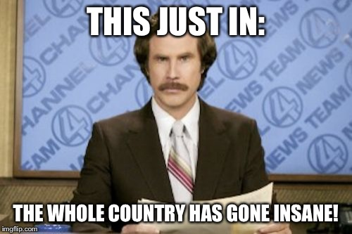 Ron Burgundy Meme | THIS JUST IN: THE WHOLE COUNTRY HAS GONE INSANE! | image tagged in memes,ron burgundy | made w/ Imgflip meme maker