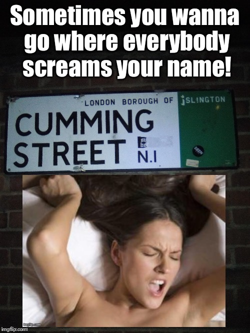 Cheers! | Sometimes you wanna go where everybody screams your name! | image tagged in memes,orgasm,cumming street,screams,name,cheers | made w/ Imgflip meme maker