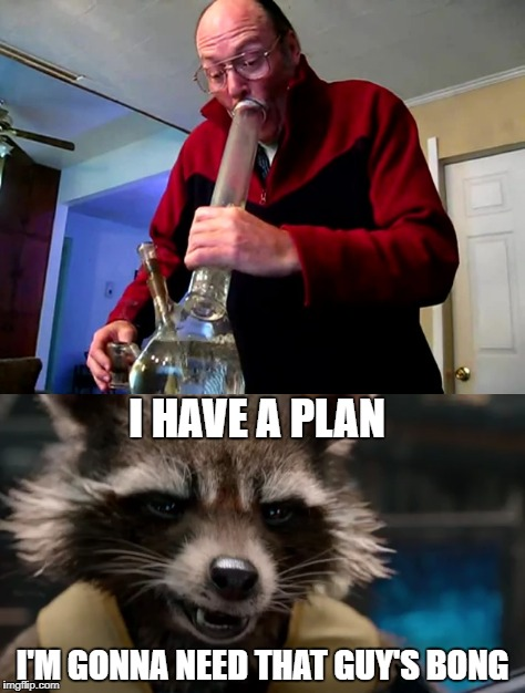 Rocket Saves the Galaxy Again | I HAVE A PLAN I'M GONNA NEED THAT GUY'S BONG | image tagged in rocket raccoon bong pot weed cannabis marijuana | made w/ Imgflip meme maker