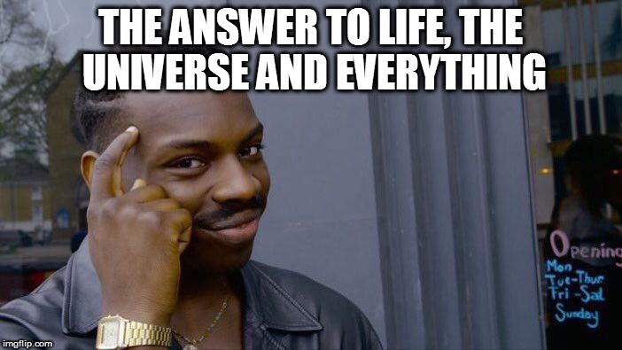 Roll Safe Think About It Meme | THE ANSWER TO LIFE, THE UNIVERSE AND EVERYTHING | image tagged in memes,roll safe think about it | made w/ Imgflip meme maker