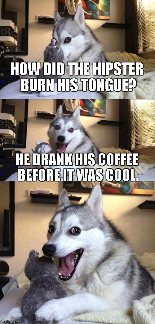 Bad Pun Dog | HOW DID THE HIPSTER BURN HIS TONGUE? HE DRANK HIS COFFEE BEFORE IT WAS COOL. | image tagged in memes,bad pun dog | made w/ Imgflip meme maker