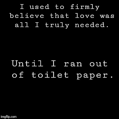 Blank |  I used to firmly believe that love was all I truly needed. Until I ran out of toilet paper. | image tagged in blank | made w/ Imgflip meme maker