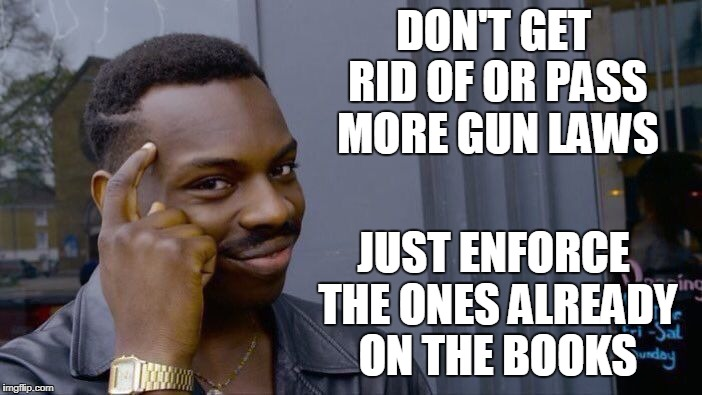Roll Safe Think About It Meme | DON'T GET RID OF OR PASS MORE GUN LAWS JUST ENFORCE THE ONES ALREADY ON THE BOOKS | image tagged in memes,roll safe think about it | made w/ Imgflip meme maker