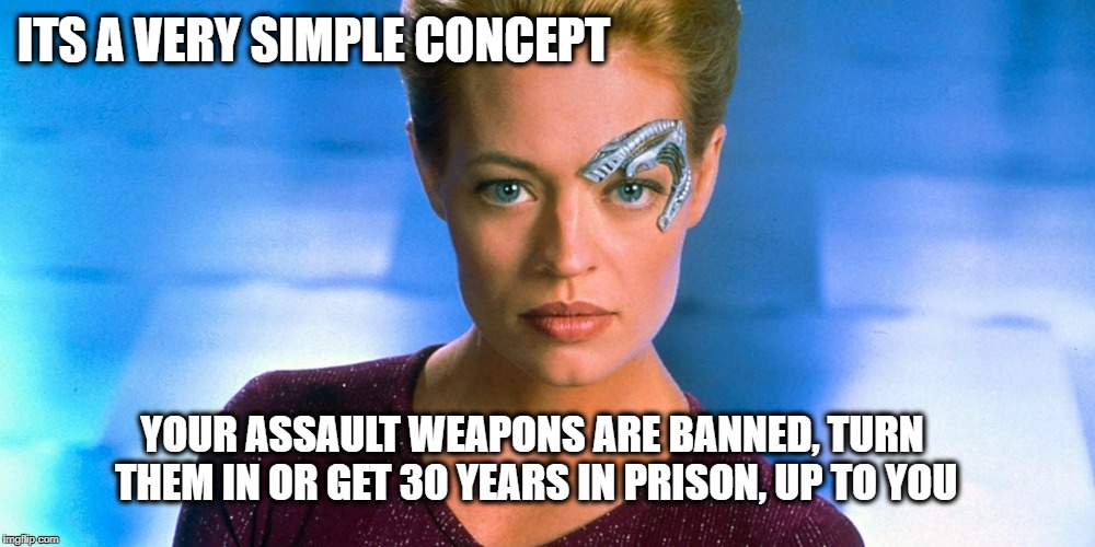 Seven | ITS A VERY SIMPLE CONCEPT YOUR ASSAULT WEAPONS ARE BANNED, TURN THEM IN OR GET 30 YEARS IN PRISON, UP TO YOU | image tagged in seven | made w/ Imgflip meme maker