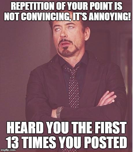 image tagged in repetition,internet comments,memes,downey jr,facebook | made w/ Imgflip meme maker