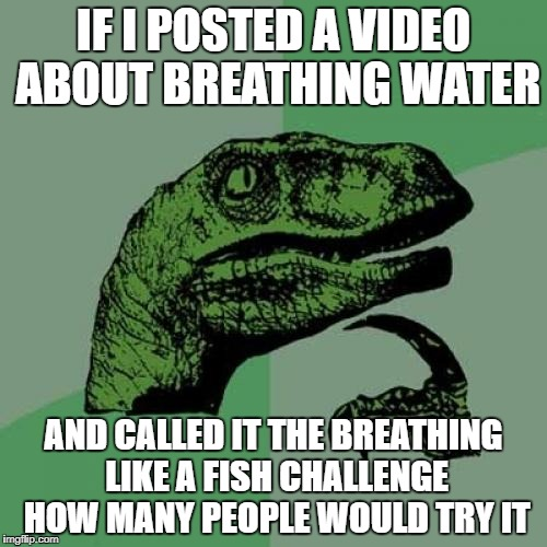 Philosoraptor Meme | IF I POSTED A VIDEO ABOUT BREATHING WATER AND CALLED IT THE BREATHING LIKE A FISH CHALLENGE HOW MANY PEOPLE WOULD TRY IT | image tagged in memes,philosoraptor | made w/ Imgflip meme maker