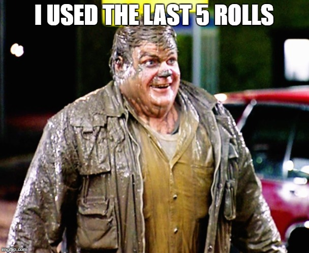 Sorry | I USED THE LAST 5 ROLLS | image tagged in shitty man,the shitter,chris farley,the shitty one,shitty shitty bang bang meme | made w/ Imgflip meme maker