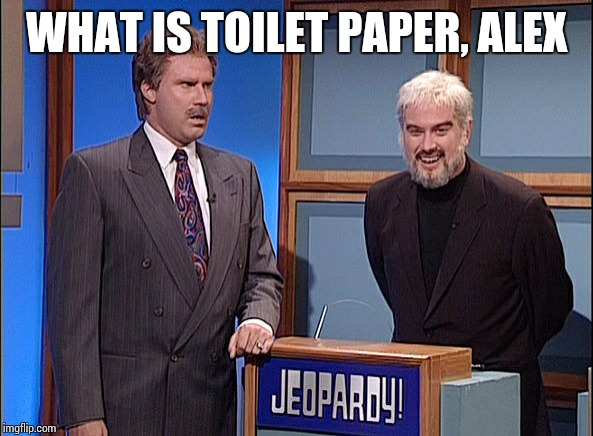 Jeopardy | WHAT IS TOILET PAPER, ALEX | image tagged in jeopardy | made w/ Imgflip meme maker