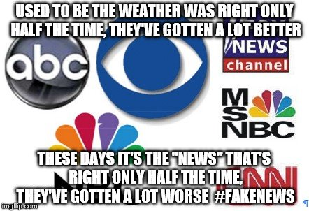"Who do you believe these days | USED TO BE THE WEATHER WAS RIGHT ONLY HALF THE TIME, THEY'VE GOTTEN A LOT BETTER THESE DAYS IT'S THE ""NEWS"" THAT'S RIGHT ONLY HALF THE TIME, 