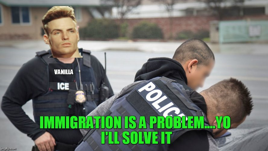 Vanilla needed to do something different | VANILLA IMMIGRATION IS A PROBLEM....YO I'LL SOLVE IT | image tagged in immigration,vanilla ice | made w/ Imgflip meme maker