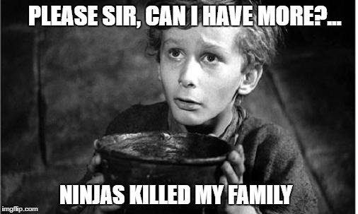 Begging | PLEASE SIR, CAN I HAVE MORE?... NINJAS KILLED MY FAMILY | image tagged in begging | made w/ Imgflip meme maker