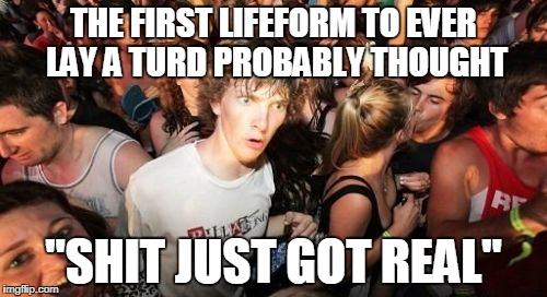 "Sudden Clarity Clarence Meme | THE FIRST LIFEFORM TO EVER LAY A TURD PROBABLY THOUGHT ""SHIT JUST GOT REAL"" 