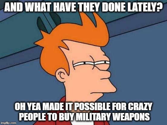 Futurama Fry Meme | AND WHAT HAVE THEY DONE LATELY? OH YEA MADE IT POSSIBLE FOR CRAZY PEOPLE TO BUY MILITARY WEAPONS | image tagged in memes,futurama fry | made w/ Imgflip meme maker