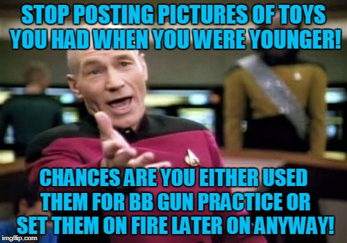 Nostalgia | STOP POSTING PICTURES OF TOYS YOU HAD WHEN YOU WERE YOUNGER! CHANCES ARE YOU EITHER USED THEM FOR BB GUN PRACTICE OR SET THEM ON FIRE LATER  | image tagged in memes,picard wtf,toys,nostalgia | made w/ Imgflip meme maker
