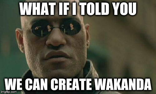 Matrix Morpheus Meme | WHAT IF I TOLD YOU WE CAN CREATE WAKANDA | image tagged in memes,matrix morpheus | made w/ Imgflip meme maker