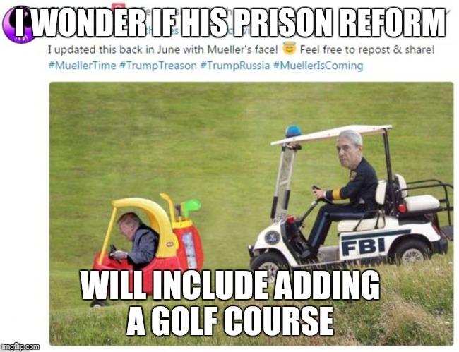 It's Meuller Time | I WONDER IF HIS PRISON REFORM WILL INCLUDE ADDING A GOLF COURSE | image tagged in donald trump | made w/ Imgflip meme maker