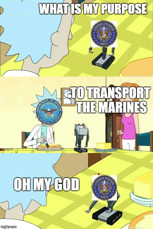 what is my purpose? | WHAT IS MY PURPOSE OH MY GOD TO TRANSPORT THE MARINES | image tagged in what is my purpose | made w/ Imgflip meme maker