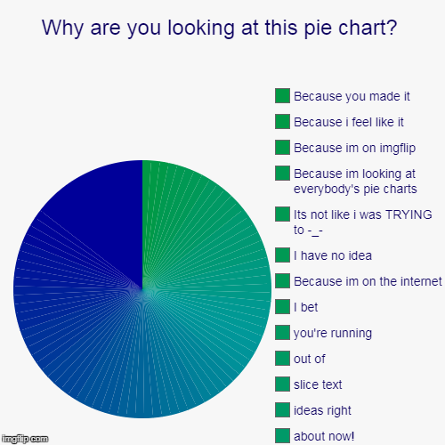 Why are you looking at this pie chart? |, about now!, ideas right, slice text, out of, you're running, I bet, Because im on the internet, I  | image tagged in funny,pie charts | made w/ Imgflip pie chart maker