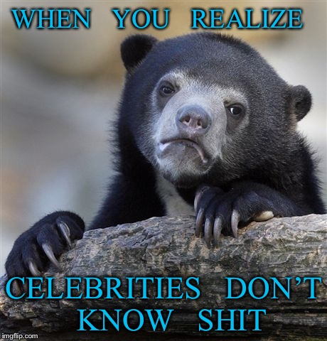 Confession Bear Meme | WHEN   YOU   REALIZE CELEBRITIES   DON'T   KNOW   SHIT | image tagged in memes,confession bear | made w/ Imgflip meme maker