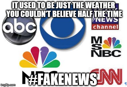 Weathered appearance | IT USED TO BE JUST THE WEATHER YOU COULDN'T BELIEVE HALF THE TIME #FAKENEWS | image tagged in fake news | made w/ Imgflip meme maker