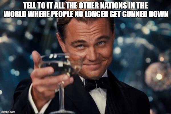 Leonardo Dicaprio Cheers Meme | TELL TO IT ALL THE OTHER NATIONS IN THE WORLD WHERE PEOPLE NO LONGER GET GUNNED DOWN | image tagged in memes,leonardo dicaprio cheers | made w/ Imgflip meme maker