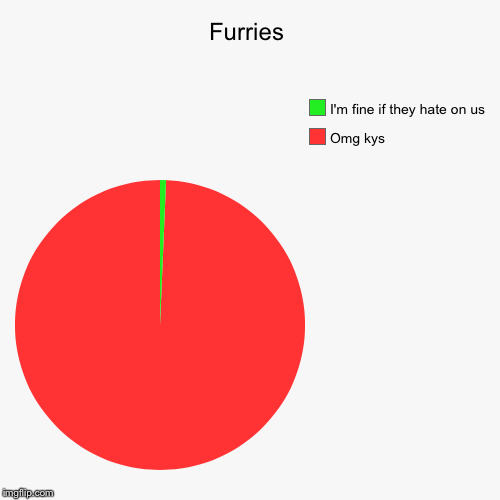 Furries | Omg kys, I'm fine if they hate on us | image tagged in funny,pie charts | made w/ Imgflip pie chart maker