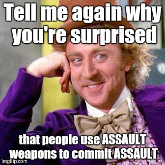 What are these guns for again? |  Tell me again why you're surprised; that people use ASSAULT weapons to commit ASSAULT | image tagged in guns,assault weapons,logic,common sense | made w/ Imgflip meme maker