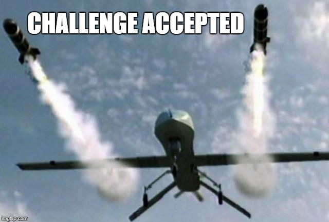 Robot Drone | CHALLENGE ACCEPTED | image tagged in robot drone | made w/ Imgflip meme maker