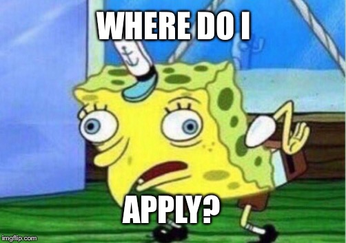 Mocking Spongebob Meme | WHERE DO I APPLY? | image tagged in memes,mocking spongebob | made w/ Imgflip meme maker