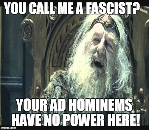 YOU CALL ME A FASCIST? YOUR AD HOMINEMS HAVE NO POWER HERE! | made w/ Imgflip meme maker