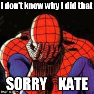 Sad Spiderman | I don't know why I did that SORRY    KATE | image tagged in memes,sad spiderman,spiderman | made w/ Imgflip meme maker